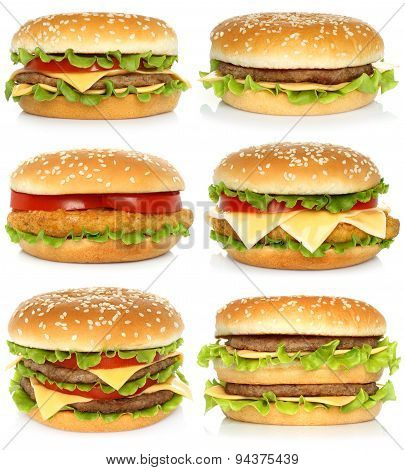 Set of big hamburgers