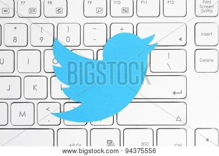 KIEV UKRAINE - APRIL 15 2015: Twitter logotype