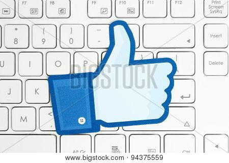 KIEV UKRAINE - APRIL 15 2015: Facebook thumbs up sign