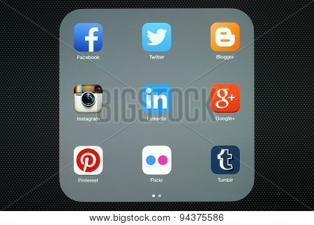 KIEV UKRAINE - APRIL 27 2015:Collection of popular social media logos on iPad screen