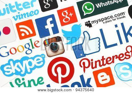 KIEV UKRAINE - APRIL 28 2015:Collection of popular social media logos