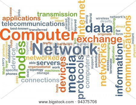 Background concept wordcloud illustration of computer network