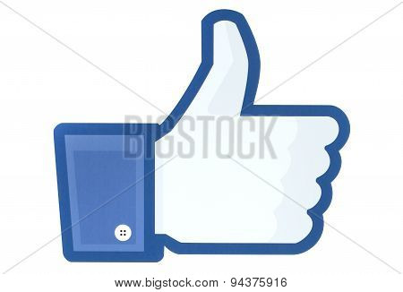 KIEV UKRAINE - MAY 26 2015: Facebook thumbs up sign