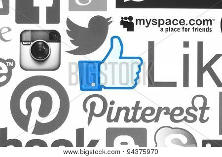 KIEV UKRAINE - June 08 2015:Collection of popular social media logos