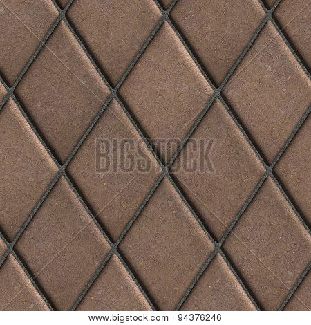Paving  Slabs Brown Laid in the Form of Rhombuses.