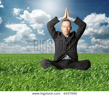 Businessman In Lotus Pose In Green Grass
