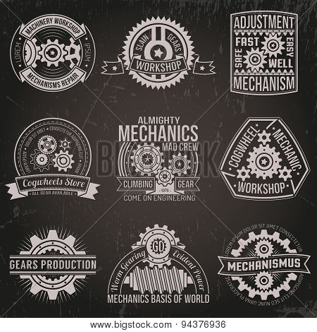 vintage emblems with mechanisms