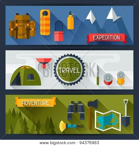 Tourist banners with camping equipment in flat style