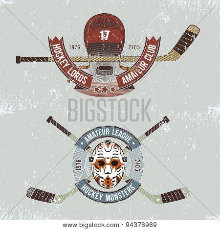 Hockey logo in grunge style
