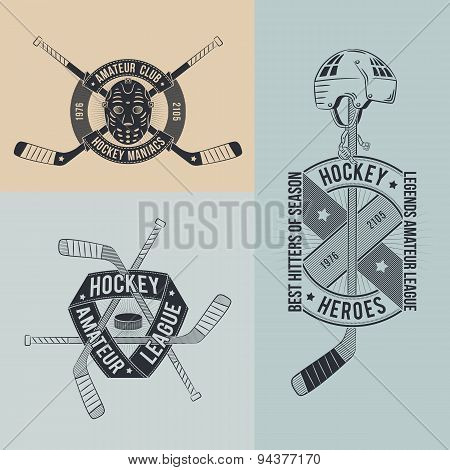 hockey logo in retro style