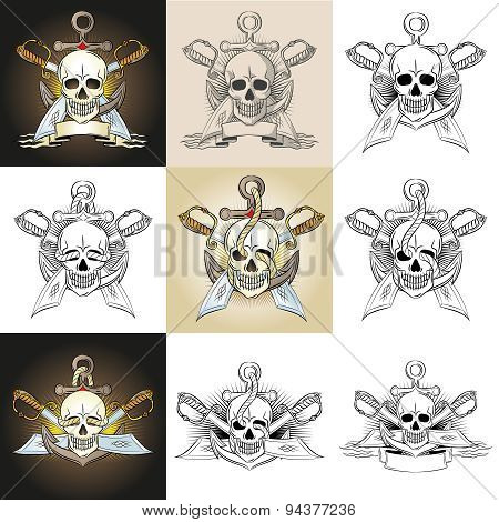 Marine emblem with skull