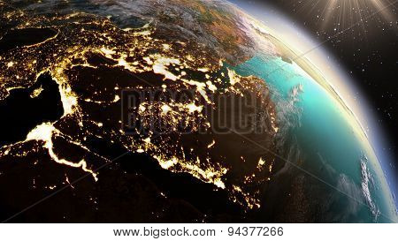 Planet Earth West Asia Zone.elements Of This Image Furnished By Nasa