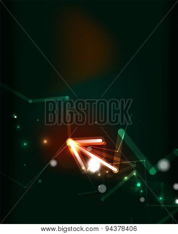 Glowing arrow and blending colors in dark space. Vector illustration. Abstract background