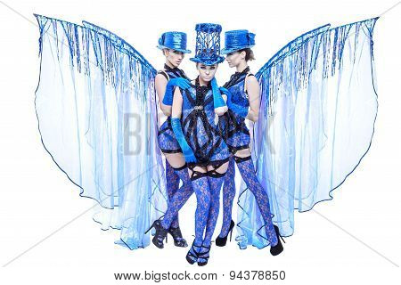 Show dancers in blue suits