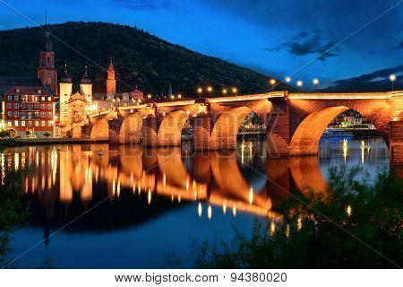 Heidelberg's Old Bridge At Twilight