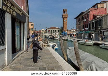 Brick clock tower in Murano island