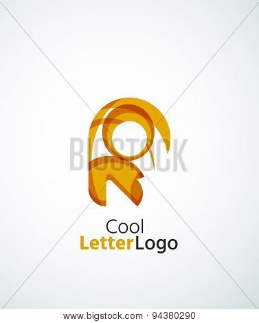 Letter company logo design. Clean modern abstract concept made of overlapping flowing wave shapes. Universal brand icon
