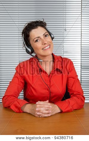 Female Customer Service Operator, Helpdesk Support, Red Shirt.