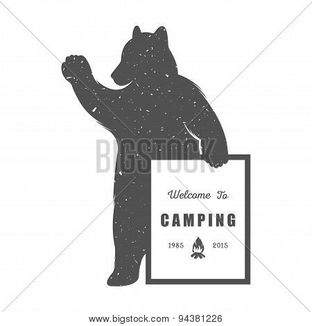 Vintage Illustration Of Funny Bear With Sign Camping