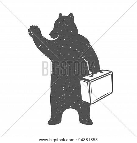 Vintage Illustration Of Funny Hitchhiking Bear Traveler