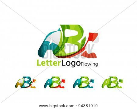 Abc company logo set. Vector illustration. Made of overlapping wave elements, abstract composition. Font business icon concept