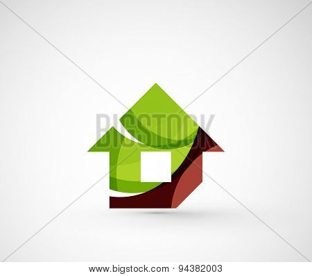 Abstract geometric company logo home, house, building. Vector illustration of universal shape concept made of various wave overlapping elements