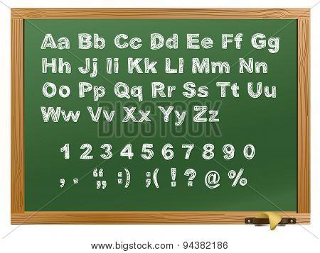 Wood school desks set and hand-drawn chalk alphabet. Raster version
