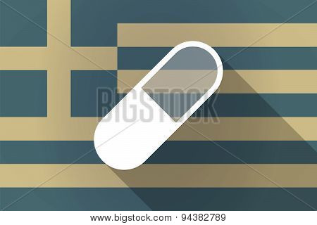 Greece  Long Shadow Flag With A Pill