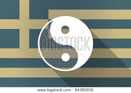 Greece  Long Shadow Flag With A Ying Yang