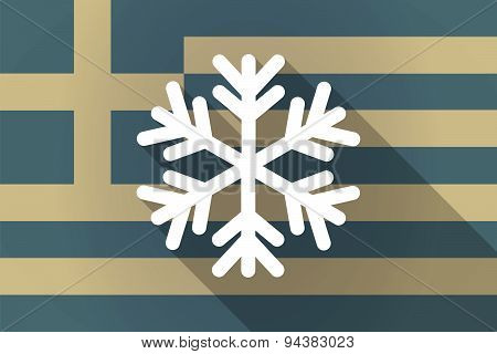 Greece  Long Shadow Flag With A Snow Flake