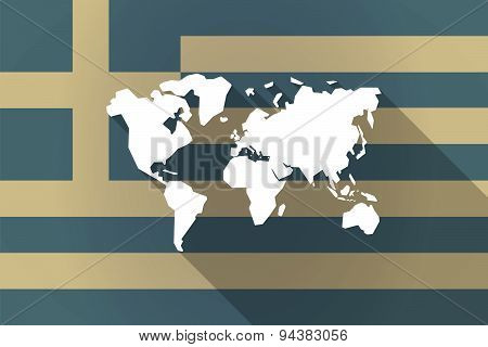 Greece Long Shadow Flag With A World Map
