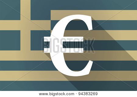 Greece Long Shadow Flag With An Euro Sign