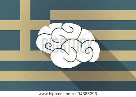 Greece Long Shadow Flag With A Brain