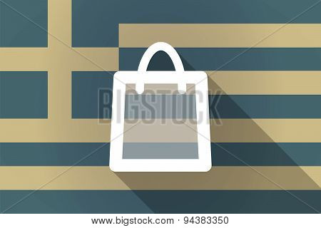 Greece Long Shadow Flag With A Shopping Bag