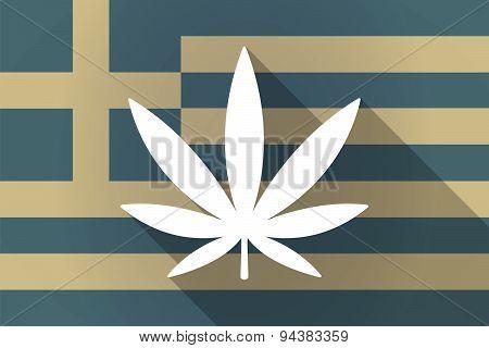 Greece  Long Shadow Flag With A Marijuana Leaf