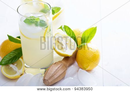 Homemade lemonade in tall glasses