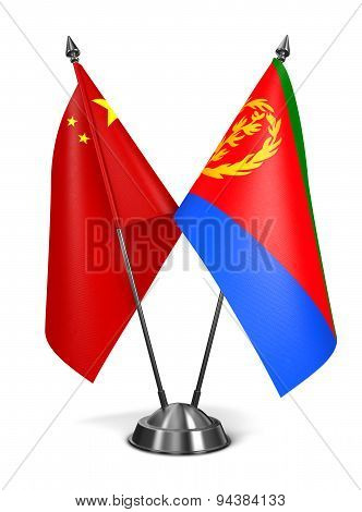 China and Eritrea - Miniature Flags.