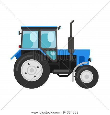 Blue Tractor Isolated On White