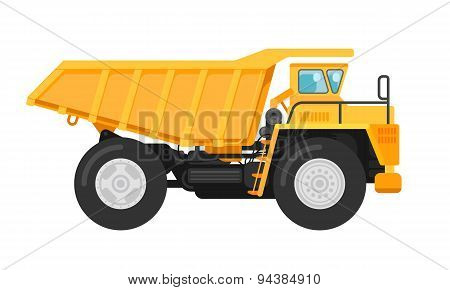 Yellow Mining Dump Truck Tipper Illustration