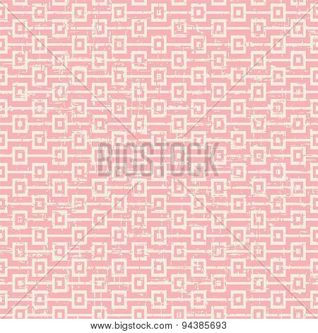 Seamless vintage worn out pink square sequence pattern background.