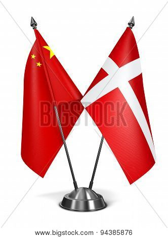 China and Denmark - Miniature Flags.