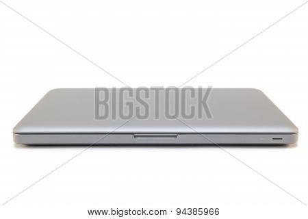 Closed laptop isolated on white background