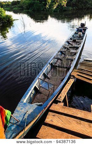 Boat Moored In Rio Yacuma