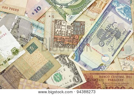 Group banknotes of different countries.