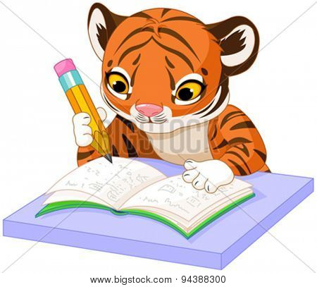 Illustration of cute tiger cub studying