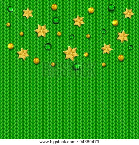 Green Knitted Pattern With Balls