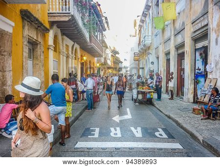 Street Of Historic Center Of Cartagena