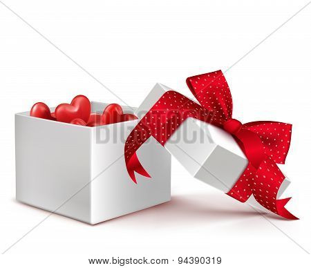 Realistic 3D White Gift Box with Balloon Hearts