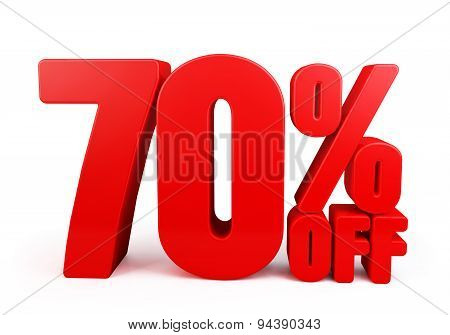 3D Rendered Red 70% Percent off Word Title for Discount