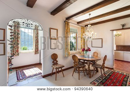 interior of old house, classic furniture, dining room view